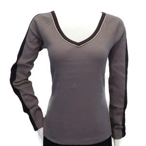 Beverly Hills Polo Club Gray V Neck Top